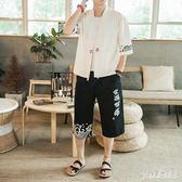 大碼 夏季中國風居士服漢服防曬衣男士薄款唐裝浮世繪和服披風衣男 aj12897『pink領袖衣社』