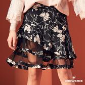 【SHOWCASE】小碎花雪紡拼接網紗魚尾層次短裙(黑)