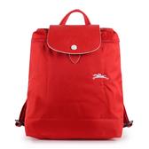 Longchamp 1699 LE PLIAGE 奔馬刺繡折疊尼龍後背包(紅色)480210-P20