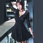 VK旗艦店 韓系修身顯瘦蕾絲網紗拼接深v性感長袖洋裝