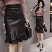 魚尾裙 秋冬黑色pu皮裙A字不規則荷葉邊中長款包臀裙魚尾裙半身裙女 coco衣巷