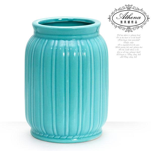 【雅典娜家飾】地中海風藍綠色簡約線條陶瓷花器-FB384