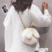 可愛兔耳朵毛絨包包女秋冬新款少女錬條包百搭毛毛單肩側背包 母親節禮物