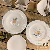 可愛鄉間小鵝陶瓷餐盤花邊復古早餐盤西餐甜品盤【白嶼家居】