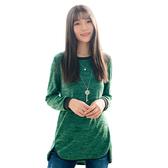 長上衣--舒適休閒前短後長包邊開衩寬鬆針織圓領長袖上衣(紅.綠M-3L)-X321眼圈熊中大尺碼