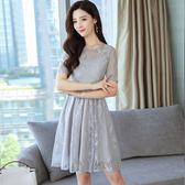 夏季新款韓版時尚修身顯瘦短袖A字蕾絲連衣裙 GB3485『樂愛居家館』
