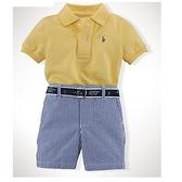 【北投之家】男寶寶套裝三件組 polo杉上衣+短褲+皮帶 黃小馬 | Polo Ralph Lauren童裝 (嬰幼兒)