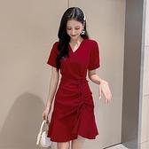 酒紅色洋裝 流行赫本風小紅裙夏法式復古收腰顯瘦氣質抽繩酒紅色魚尾連身裙女-Ballet朵朵