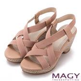 MAGY 異國風情 鬆緊帶交錯拼接牛皮楔型涼鞋-粉紅