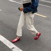 單鞋韓國chic 一字扣平底小單鞋平底鞋簡約百搭方頭小皮鞋女 伊韓時尚