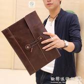 時尚韓版手包信封包文件包商務休閒手拿包公文包復古   歐韓流行館