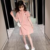 女童洋裝夏裝2021新款短袖洋氣兒童夏季大童polo小女孩公主裙子 幸福第一站