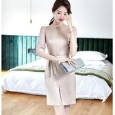 2020洋裝OL上班外出約會連身五分袖洋裝顯瘦連身裙氣質修身洋裝[20X037-PF]美之札