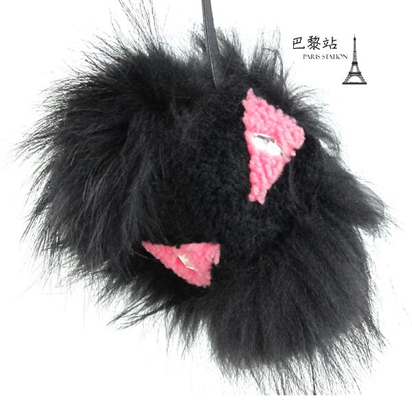 【巴黎站二手名牌專賣店】*現貨*FENDI 芬迪 真品*Fur Monster Charm Black毛球 小怪獸吊飾
