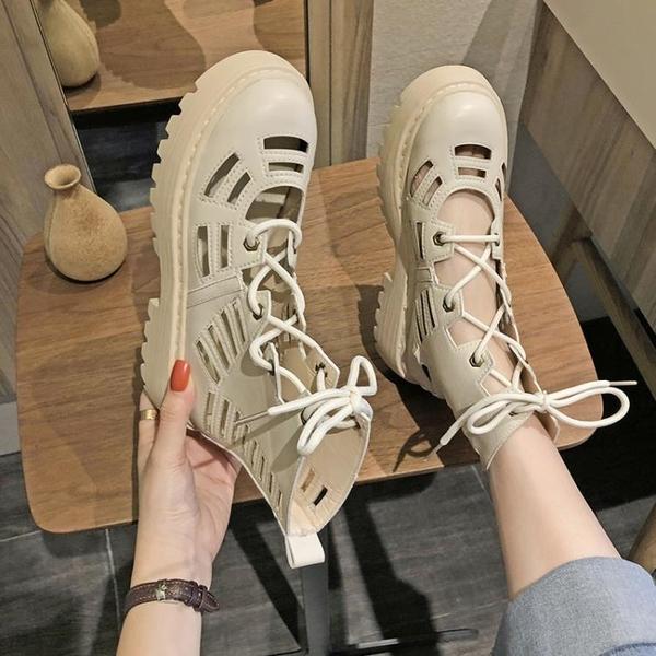 馬丁靴女英倫風透氣夏季2021新款薄款靴子百搭厚底機車短靴帥氣潮 【Ifashion】