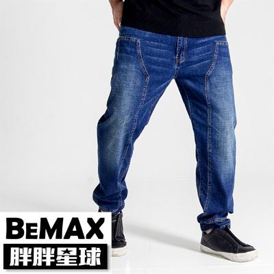 【胖胖星球】中大尺碼‧個性車線造型牛仔褲 38~50腰‧加大/潮流【88356】