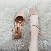 單鞋 新款奶奶鞋韓版百搭中跟包頭涼鞋女夏復古方頭粗跟單鞋瑪麗珍