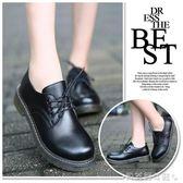 牛津鞋春夏復古休閒馬丁鞋黑色粗跟小皮鞋平底英倫風牛津女鞋單鞋 貝芙莉女鞋