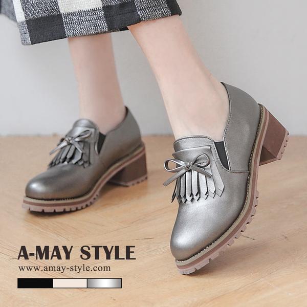 紳士鞋-英倫流蘇蝴蝶結粗跟鞋