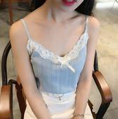 夏季韓版日系軟妹甜美蕾絲花邊可愛蝴蝶結小吊帶女學生打底衫背心