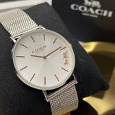 星晴錶業-COACH蔻馳女錶,編號CH00010,36mm銀錶殼,銀色錶帶款