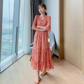 洋裝短袖裙子v領S-XL新款連身裙碎花雪紡過膝收腰顯瘦氣質長裙H325-9088.胖胖唯依