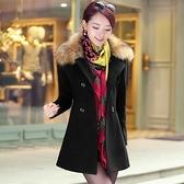 【藍色巴黎】 韓國時尚可拆式毛領中長版加厚毛呢外套/西裝外套 【28985】