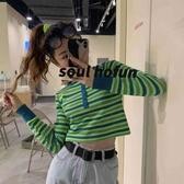 秋裝韓國chic復古撞色條紋長袖t恤女百搭修身短款露臍上衣打底衫長袖T恤