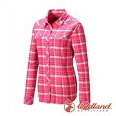 【wildland 荒野】女 彈性 T400格紋保暖襯衫『桃紅』0A82201 戶外 休閒 運動 露營 吸濕 排汗 快乾 舒適