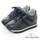 【CUMAR】休閒主義 - 簡約休閒側邊燙鑽綁帶多層次厚底休閒鞋(深藍色)