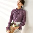 雪紡衫-荷葉邊立領提花寬鬆長袖女襯衫2色73xa6【巴黎精品】