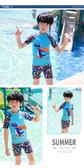 儿童泳衣男童小中大童分体卡通游泳衣宝宝婴幼儿小孩防曬泳裤套装 歐韓時代