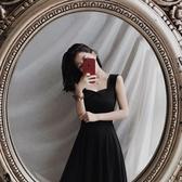2020新款夏季赫本復古法式無袖吊帶顯瘦高腰氣質連身裙小黑長裙女 童趣屋