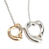 【奢華時尚】TIFFANY 18K金+純銀雙Open Heart墜飾項鍊