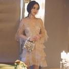 尾牙禮服 18歲成年禮女生小禮服夢幻金色宴會晚禮服超仙生日聚會派對連衣裙-快速出貨