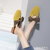 半拖鞋女方頭粗跟韓版外穿涼拖包頭2020夏季新款蝴蝶結皮帶裝飾潮 yu11965【棉花糖伊人】