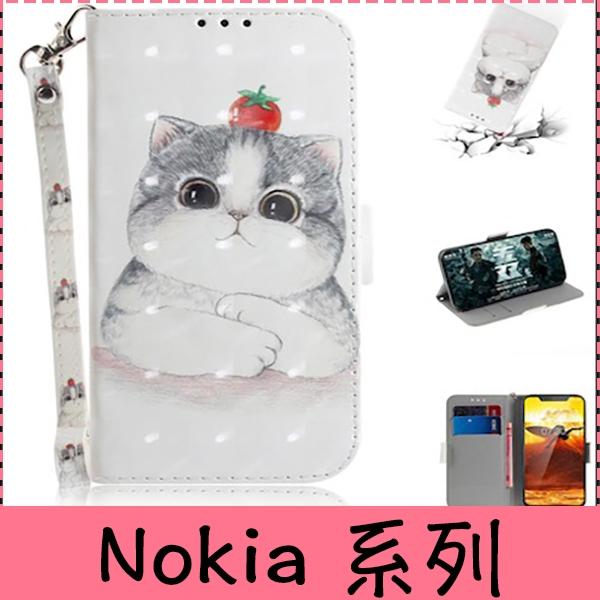 【萌萌噠】諾基亞 Nokia 8.1/Nokia7 plus/Nokia5.1plus/Nokia6.1plus 可愛卡通貓咪動物彩繪側翻皮套