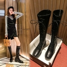 膝上靴 大碼32-43不過膝靴子女2020新款粗跟后拉鏈彈力長靴高筒靴騎士靴