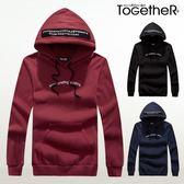 ToGetheR+【J2120】個性時尚款字母印花保暖刷毛連帽長袖T恤(三色)