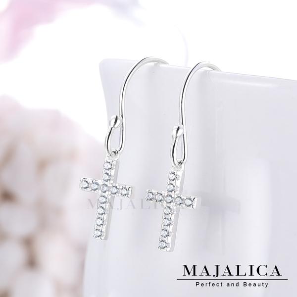 Majalica純銀耳環十字架約定耳勾式925純銀 淑女純銀耳環  PF8066