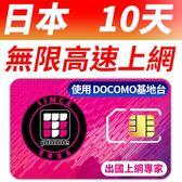 【TPHONE上網專家】日本DOCOMO 10天無限上網卡 每天300MB 4G高速上網 當地原裝卡