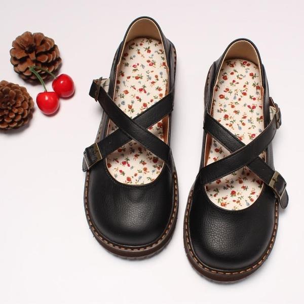 全館83折 新款日系復古圓頭娃娃鞋學院風搭扣松糕底鞋小清新可愛圓頭女鞋