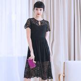 禮服 大碼連身裙加肥加大新款性感水滴領蕾絲長裙氣質女神范顯瘦igo coco衣巷
