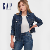 Gap女裝 時尚靛藍口袋拉鍊牛仔外套 610491-深靛藍色
