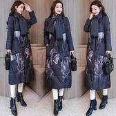 羽絨外套 冬裝女新品新款復古民族風棉衣中長版冬天外套加厚過膝中國風棉襖 最後一天85折