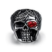 鈦鋼戒指 鑲鑽-酷炫骷髏頭歐美流行生日情人節禮物男飾品73le145[時尚巴黎]