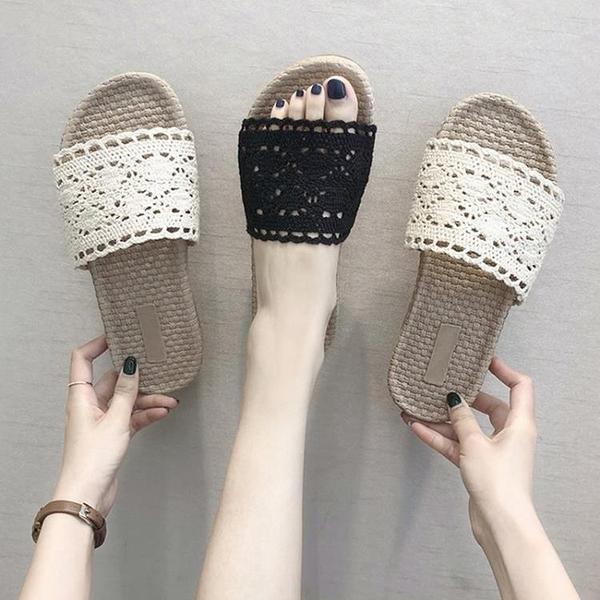 現貨-蕾絲拖鞋女夏2020新款平底外穿時尚韓版漁夫鞋草編編織沙灘一字拖10-24
