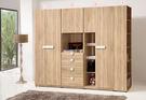 【森可家居】多莉絲8尺組合衣櫃(全組) 7ZX121-5  衣櫥 衣物收納 木紋質感 無印風 北歐風