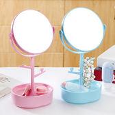 雙面旋轉化妝鏡鏡子公主鏡吊飾飾品收納盒梳妝鏡補妝鏡圓形台式鏡子✭慢思行✭【Z042 】