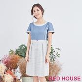 【RED HOUSE 蕾赫斯】色彩編織拼接牛仔洋裝(共2色)